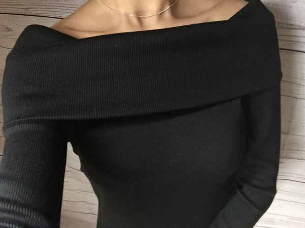 Shoulder Fold Sexy Sweater