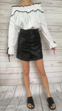 Faux Leather Skirt (S/M)