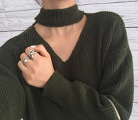 Collar Ribbed Zipper Sweater