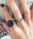 Large Stone Gem Silver Ring (Black/White)