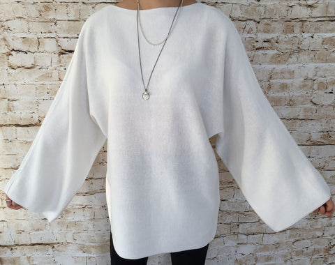 Loose Fit & Knitted Sweater (White Colour)