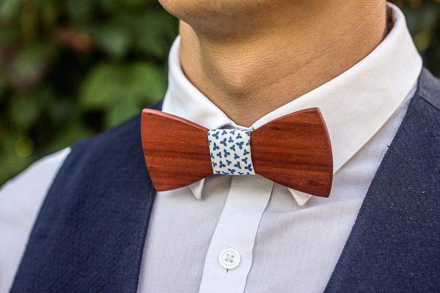 Bright Red Paduk Wooden Bow Tie - TheHrdwood