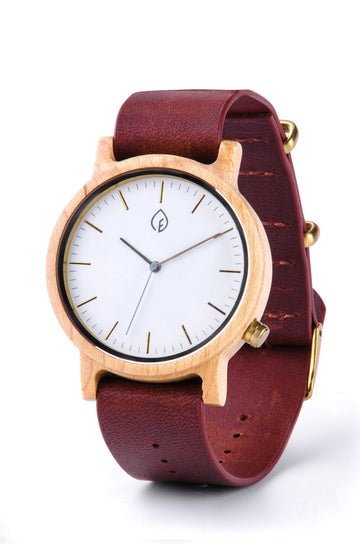 Cognac Leather Maple Wooden Watch - TheHrdwood