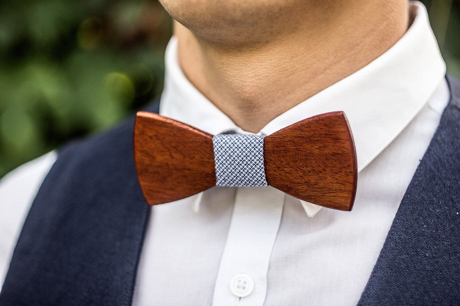 Mahogany Wooden Bow Tie - TheHrdwood