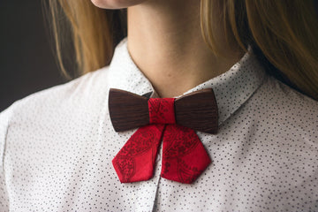 Women's Wooden Bow Tie. Exotic Ebony wood with Red fabric - TheHrdwood