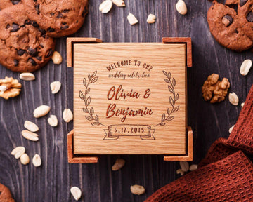 Wooden coasters wedding