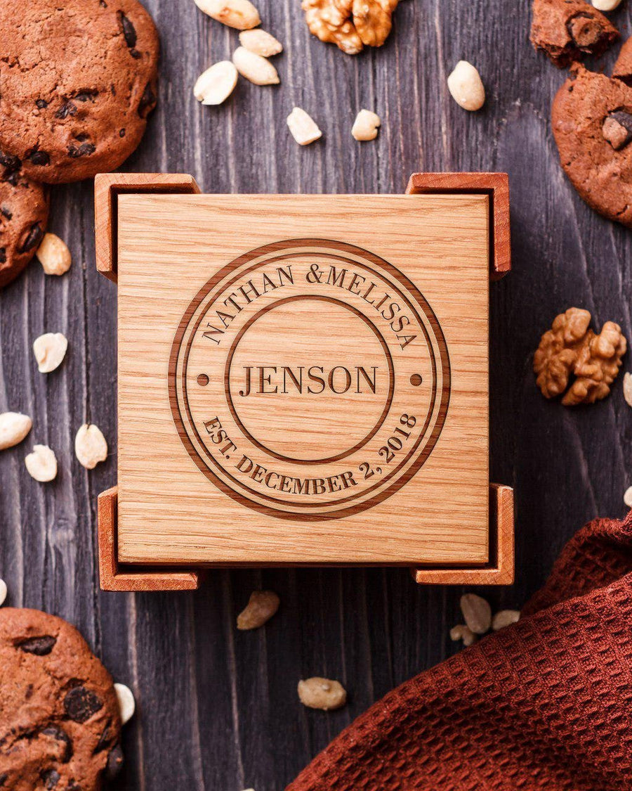 Wooden coasters stamp
