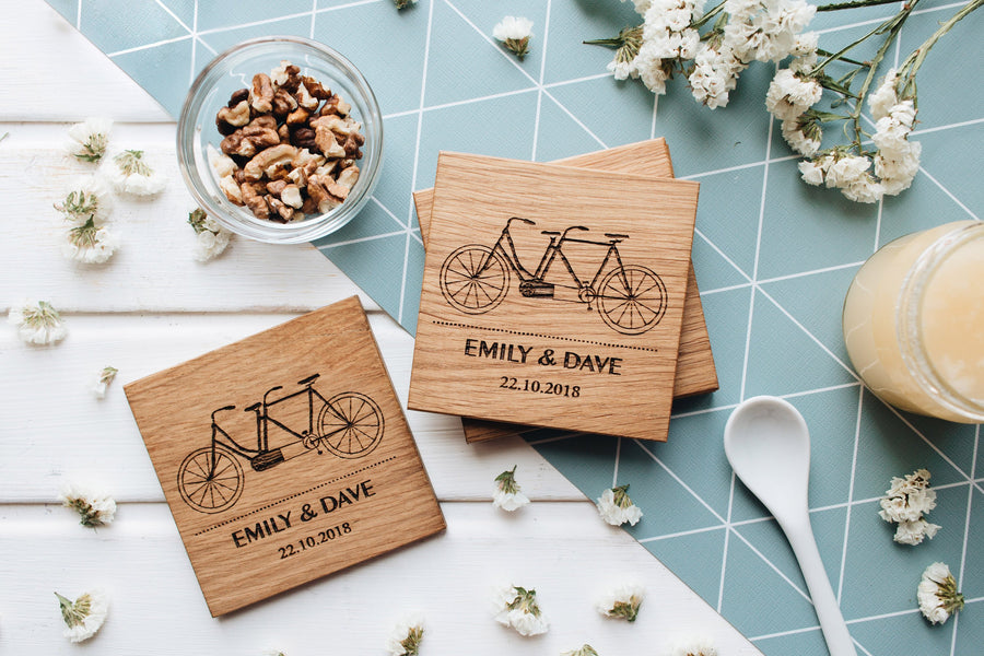 Wooden coasters bicycle
