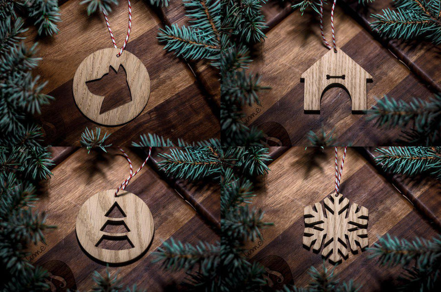 Wooden Christmas Decorations, Set of 8 ornaments, Family Gifts