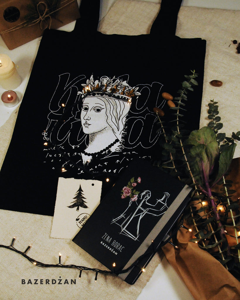 "<img src=""2020-11-17-102818508.jpg"" alt=""tote bag with queen of bosnia illustration and booklet with illustration of an antifascist memorial in bosnia"">"
