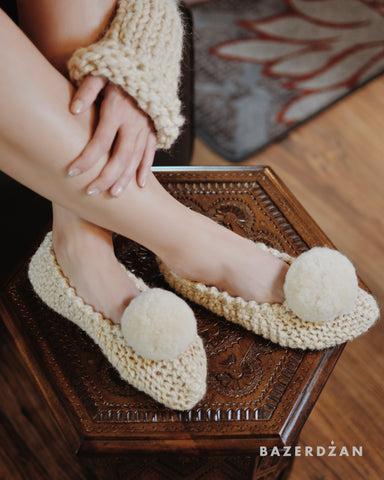 Wool crochet slippers (with non-skid sole) - Bazerdzan