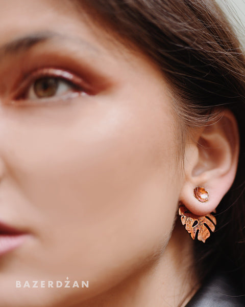 """Philodendron motif"" earrings by Natasha Rubis - Bazerdzan"