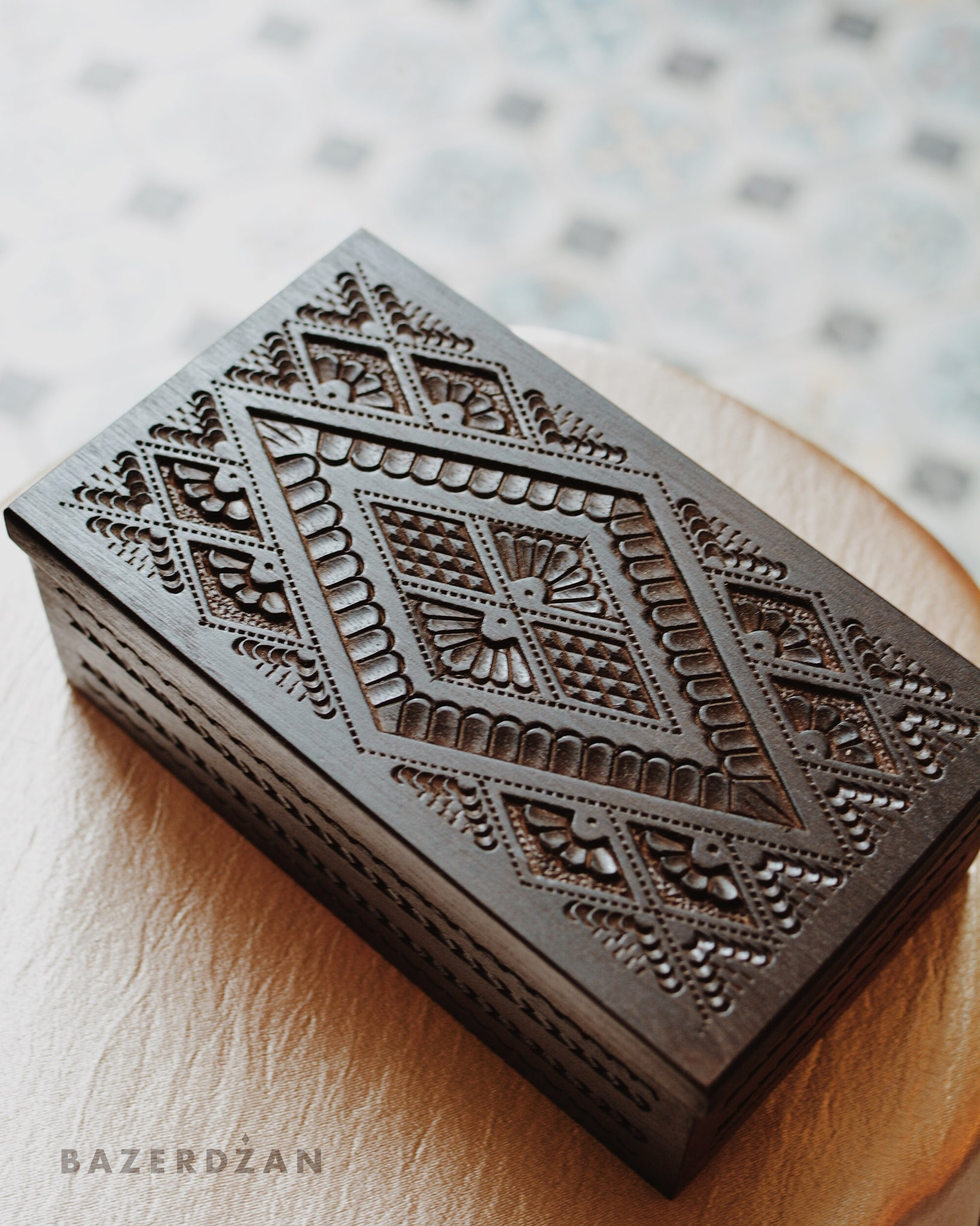 Traditionally Hand Carved Jewelry Box