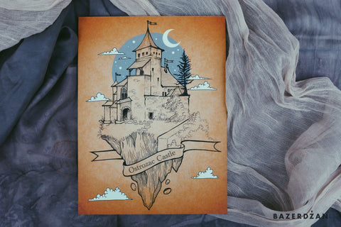 Ostrozac Castle, illustration by Ina Cano - Bazerdzan