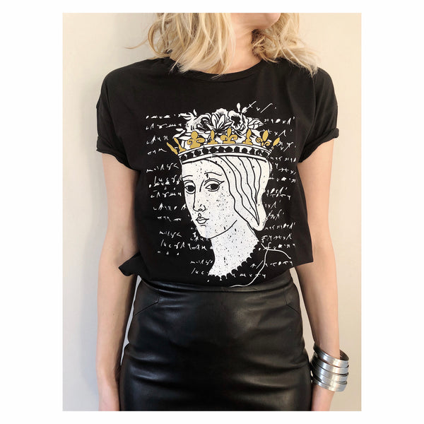 Catherine of Bosnia T-shirt (Color: Black, White) - by Rubyred
