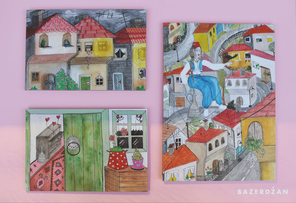 "Illustration ""Sarajevo door"" print on aluminum Dibond - by artist Dalila Manso"