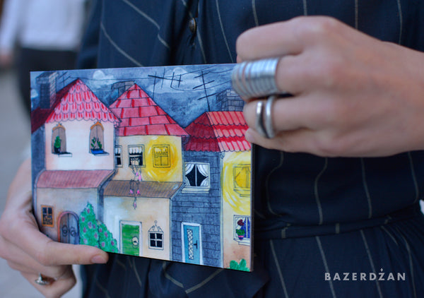 "Illustration ""Sarajevo houses"" print on aluminum Dibond - by artist Dalila Manso"