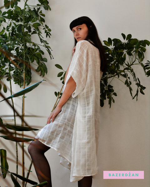 Gauze Midi Shirt Dress