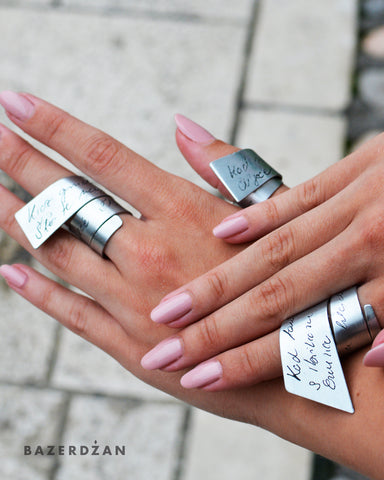 Rings with engraved Sevdalinka (Material: Zinc/Brass) - by Werkstatt - Bazerdzan