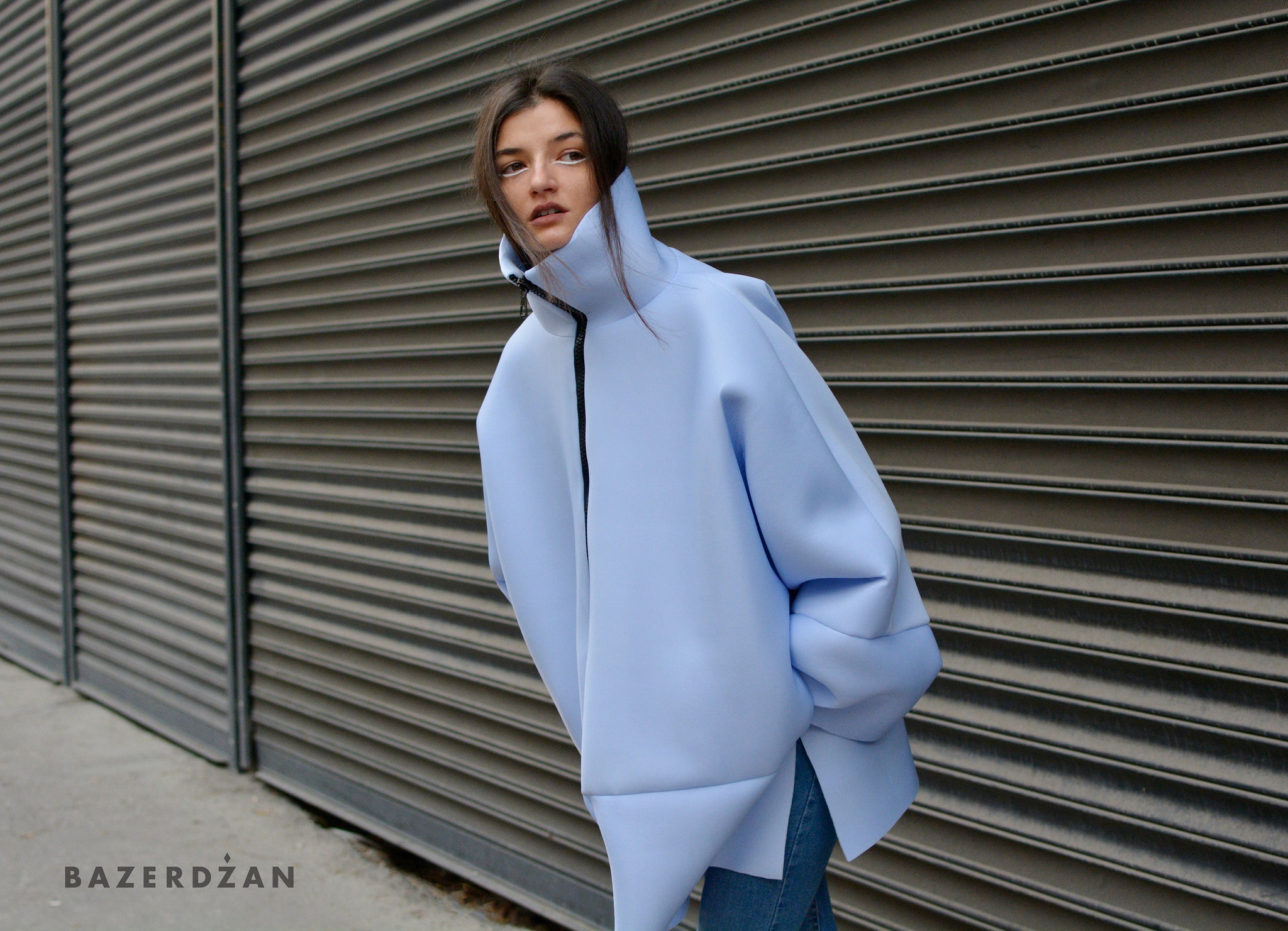 Ice blue oversized jacket - Bazerdzan