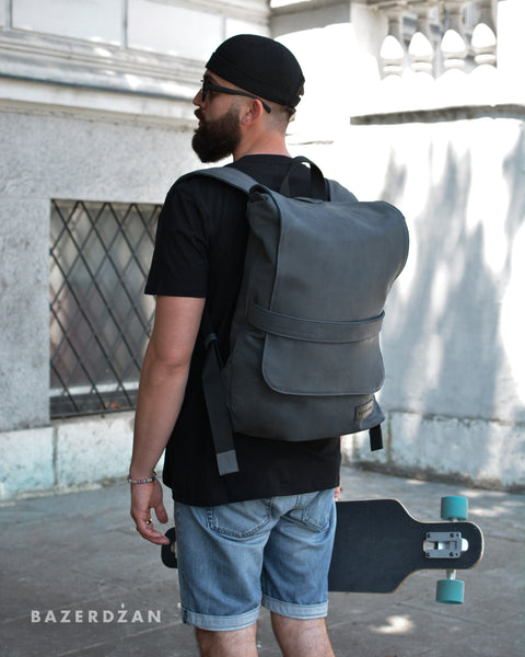 Leather Backpack (Grey / Black; Large )