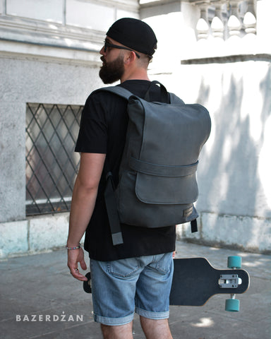 Leather Backpack (Grey / Black; Large ) - Bazerdzan