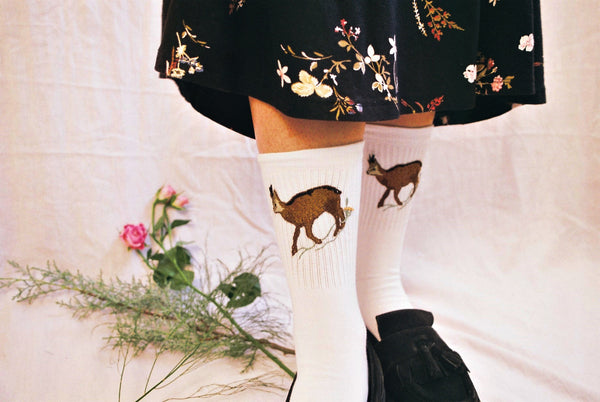 Socks With Hand Embroidered Motifs of Endangered and Edemic Species by Potka