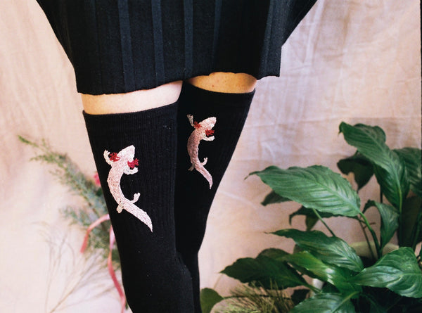 Socks With Hand Embroidered Motifs of Endangered and Edemic Species by Potka - Bazerdzan