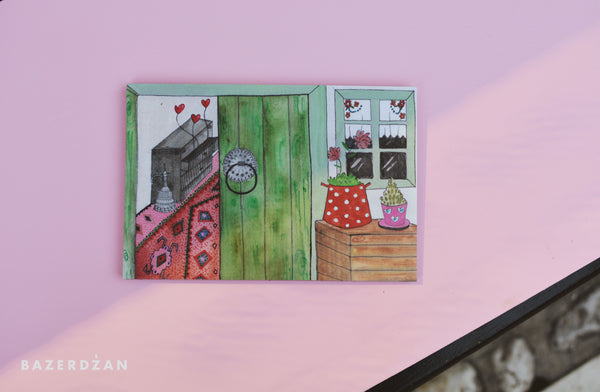 "Illustration ""Sarajevo door"" print on aluminum Dibond - by artist Dalila Manso - Bazerdzan"