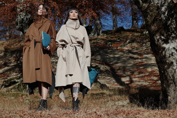 Cashmere Coat (Color: Beige and Brown)