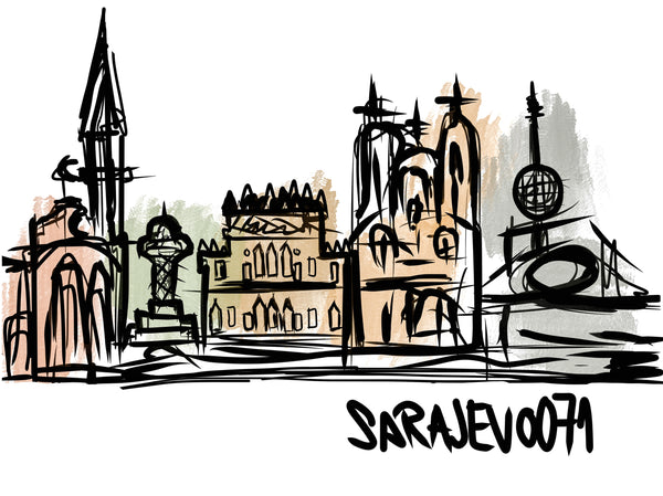 Sarajevo Illustration by Academic Painter Vildana Brkić (without frame) - Bazerdzan