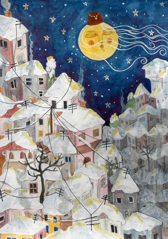 "Illustration ""Sarajevo mahala covered in snow"" print on aluminum Dibond - by artist Dalila Manso - Bazerdzan"