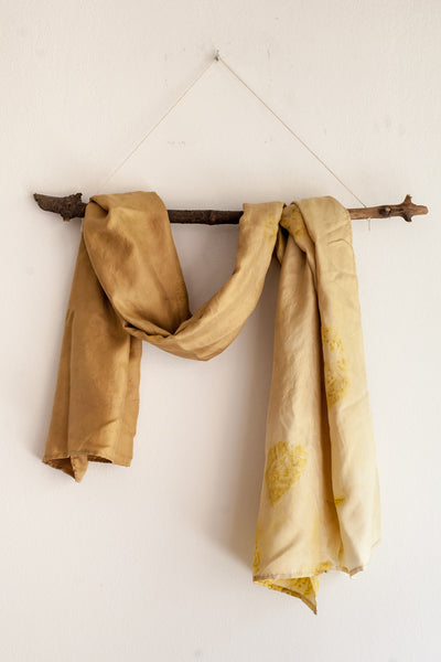 Eco Print and Natural Dye Silk Scarf