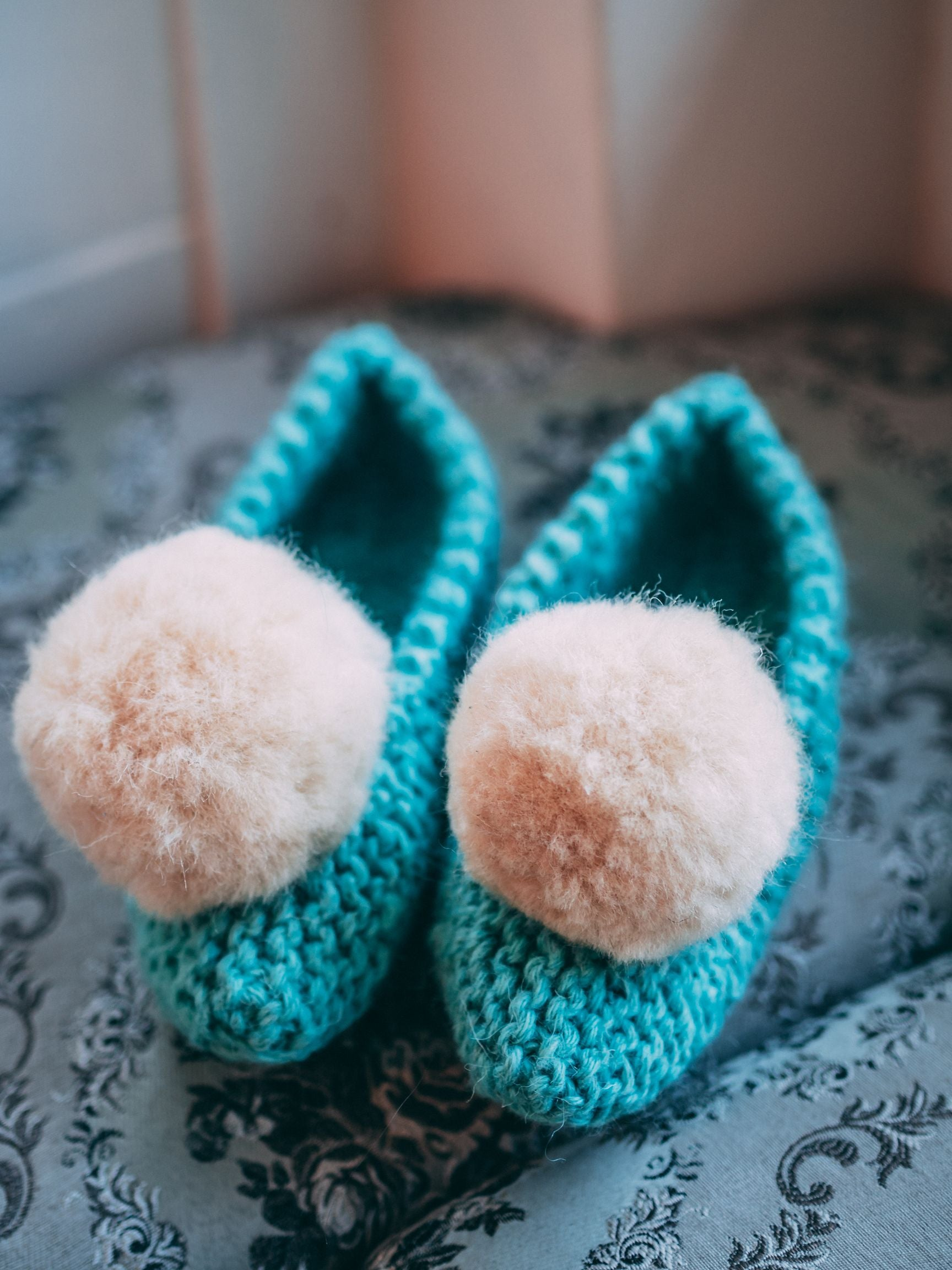 Wool crochet slippers (with non-skid soles), turquoise