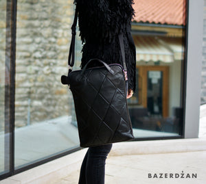 Leather Laptop Baklava Bag (Color: Black)
