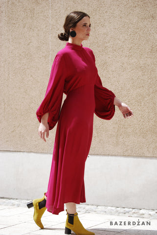 Long Dark Rose Dress With Puff Sleeves