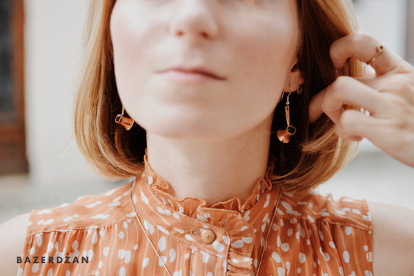 Dzezve Earrings (Material: Copper and Silver) | Bazerdžan