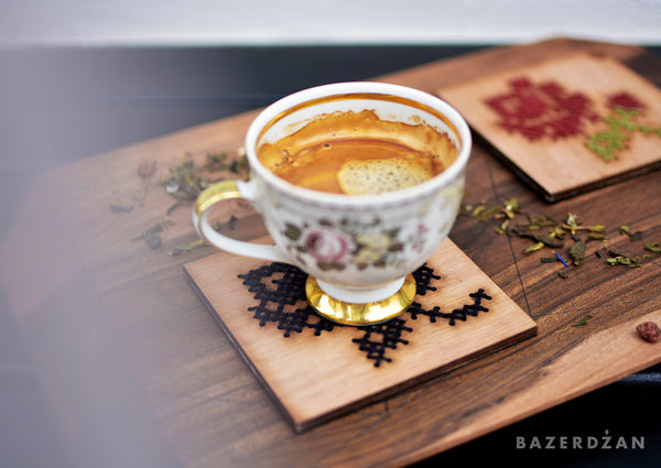 Wooden Drink Coaster with Rose Embroidery - Bazerdzan