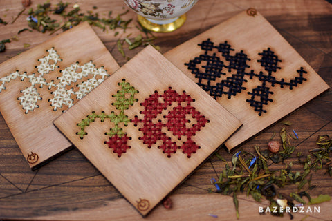 Wooden Drink Coaster with Rose Embroidery