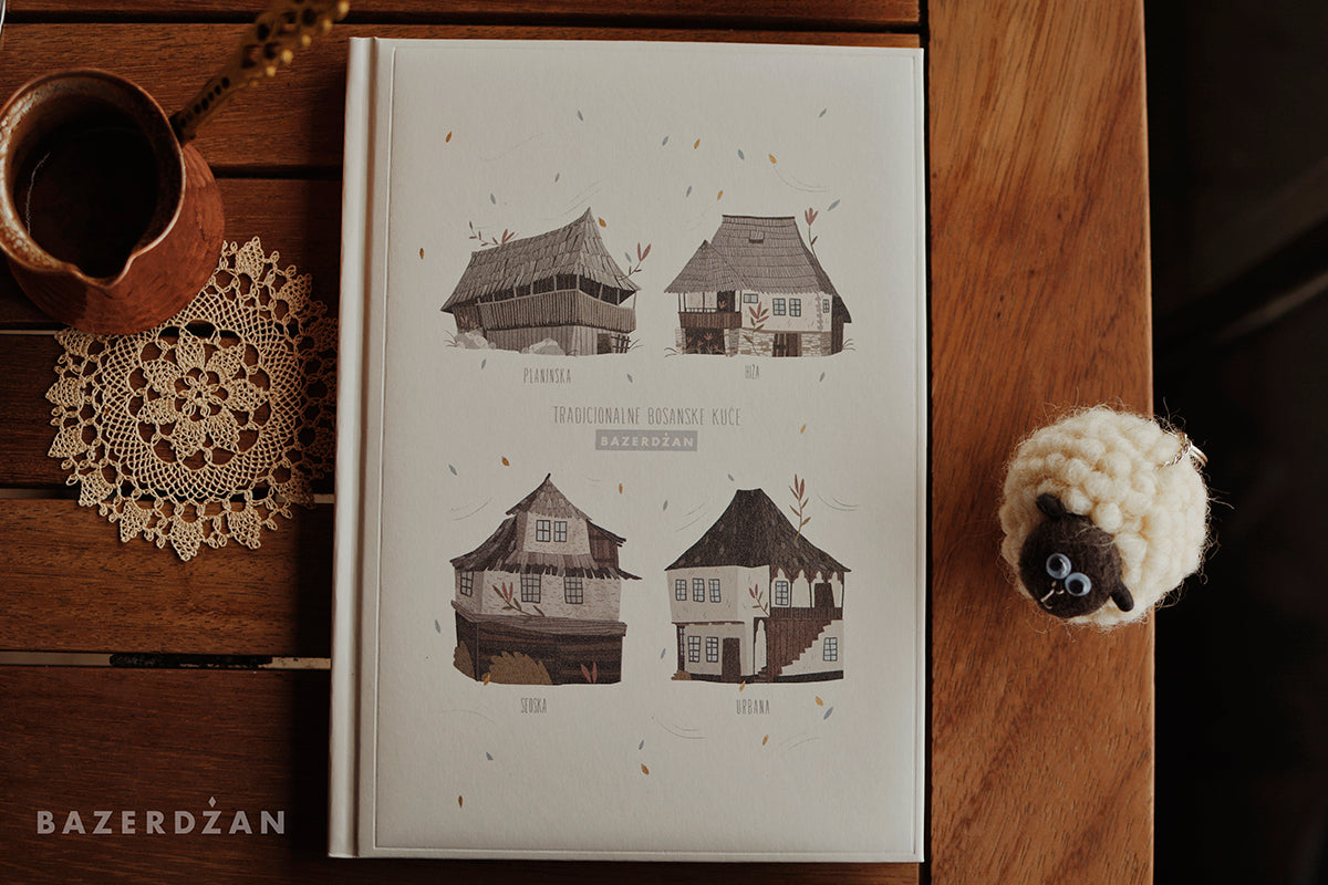 """Traditional Bosnian Houses"" Notebook, (White)"