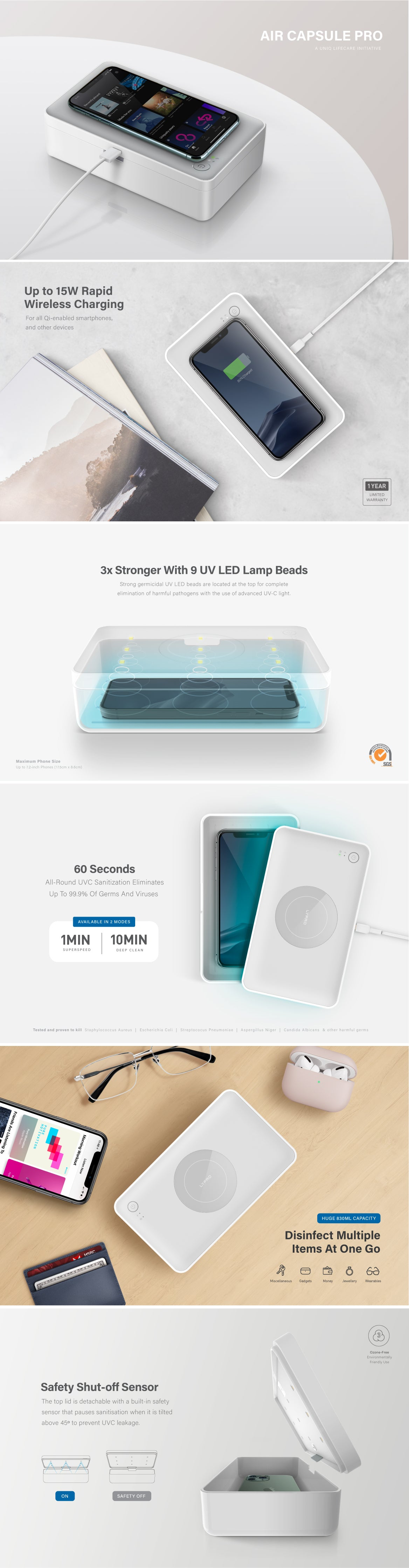 UNIQ LYFRO Air Capsule Pro UV Sanitizer Disinfection Box with 15W Fast Wireless Charging To Disinfect Multiple Everyday Items