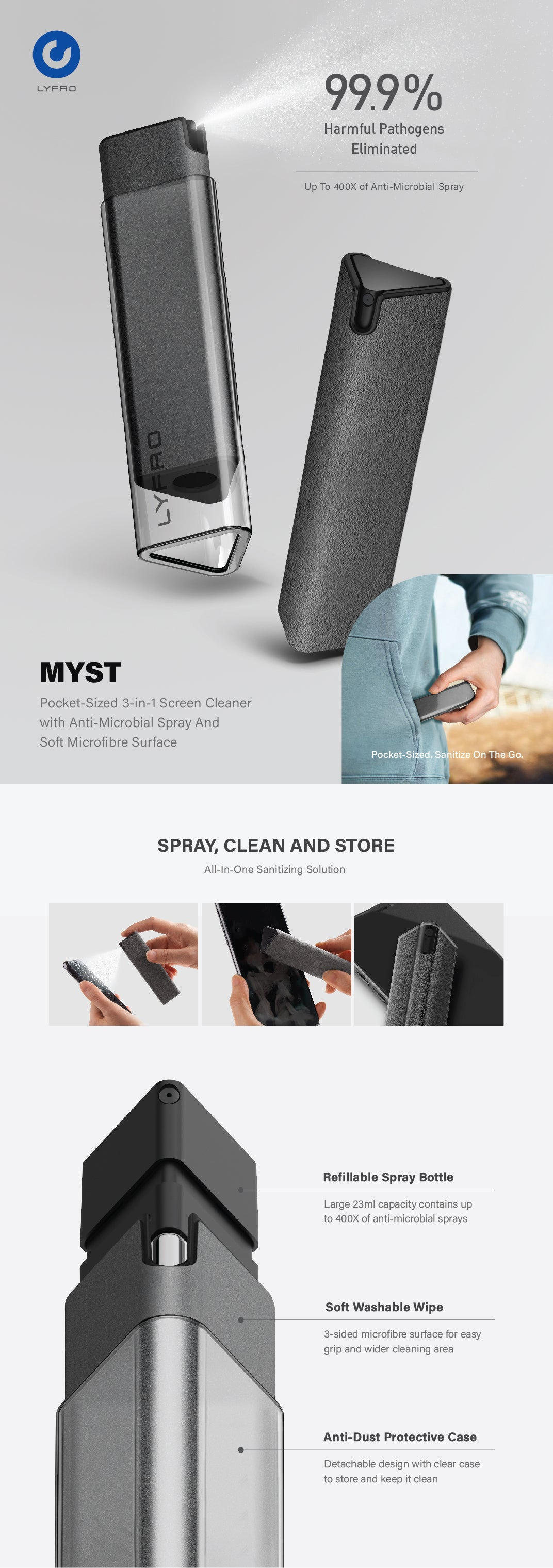 UNIQ | LYFRO Myst 3-in-1 Anti-Microbial Screen Cleaner To Sanitize On The Go