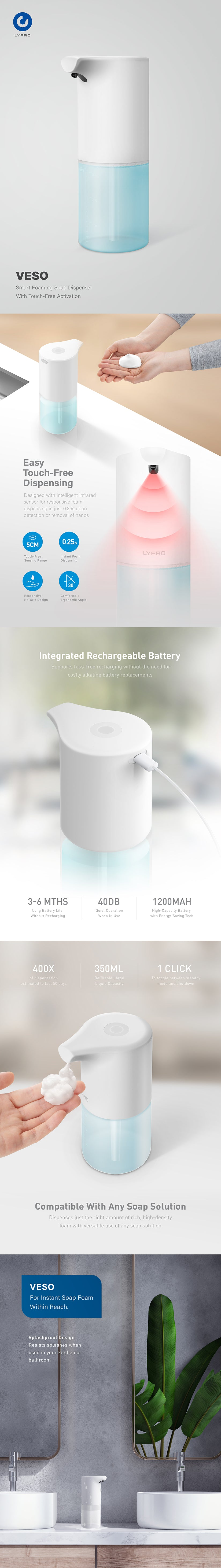 UNIQ | LYFRO Smart Foaming Soap Dispenser With Touch-Free Activation