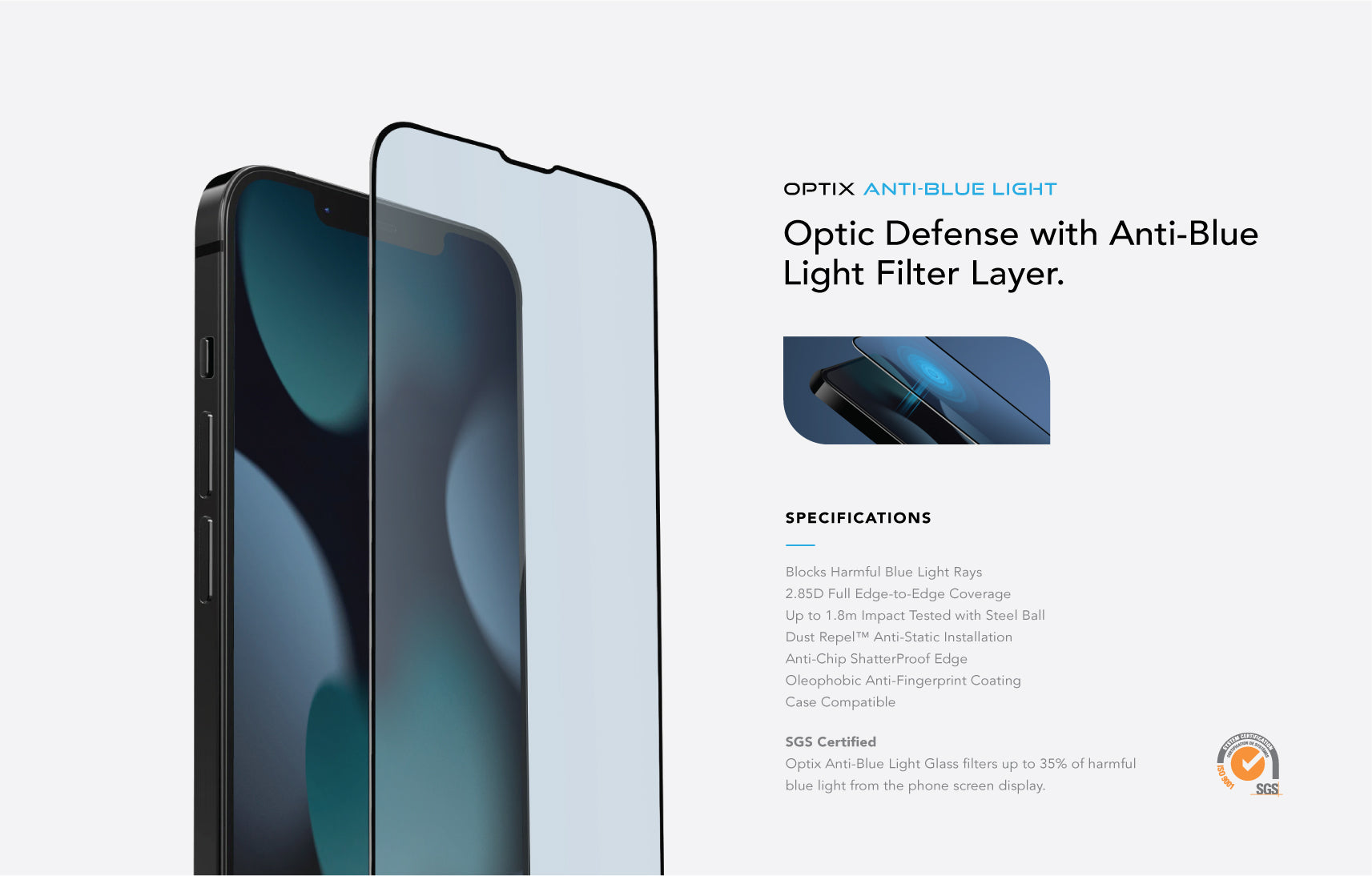 UNIQ Optix Anti-Blue Light 9H Tempered Glass Screen Protector for iPhone 13 and iPhone 13 Pro and iPhone 13 Pro Max