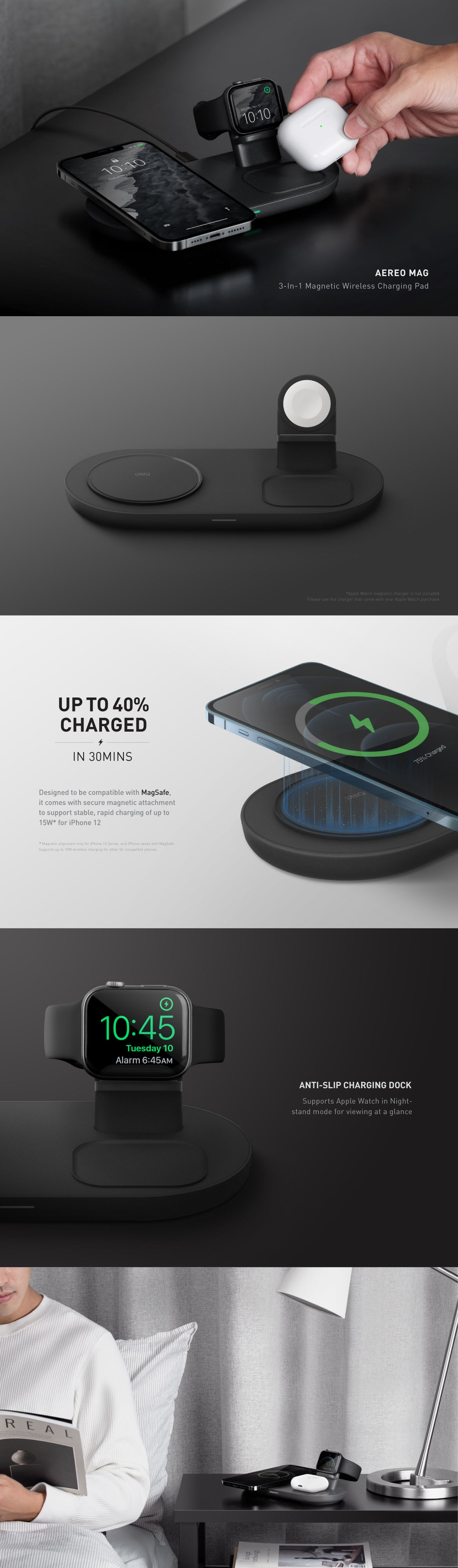 UNIQ Aereo Mag 3-in-1 Magnetic Wireless Charging Pad For AirPods, Apple Watch and iPhone