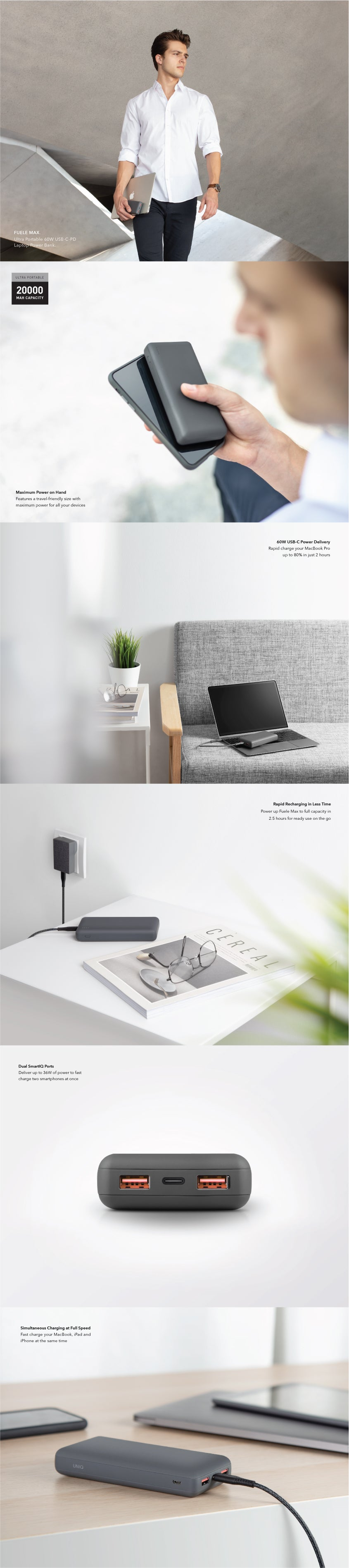 UNIQ Fuele Max Ultra Portable 60W USB-C PD Laptop Power Bank