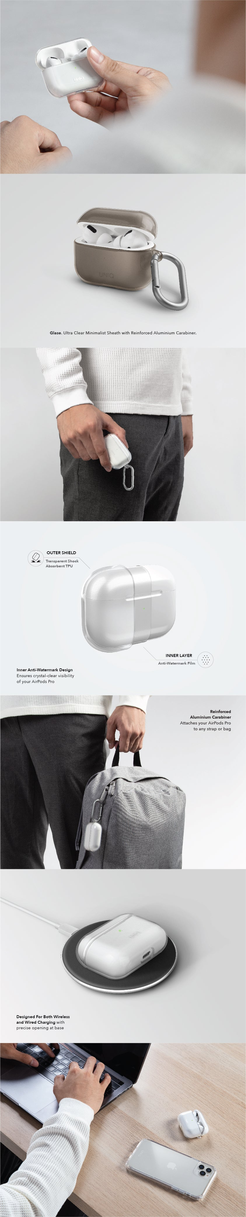 UNIQ Glase Ultra Clear Minimalist AirPods Pro Case with Reinforced Aluminium Carabiner