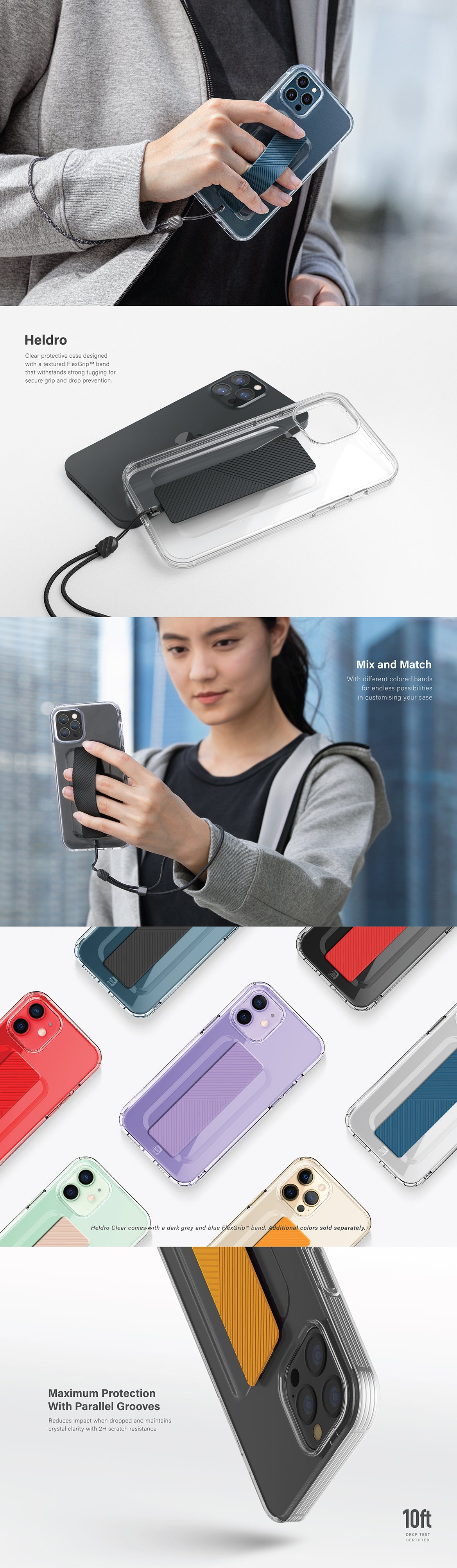 UNIQ Heldro Clear iPhone 12 Pro Max Case with FlexGrip™ Band | Grip Case | Do more with one hand