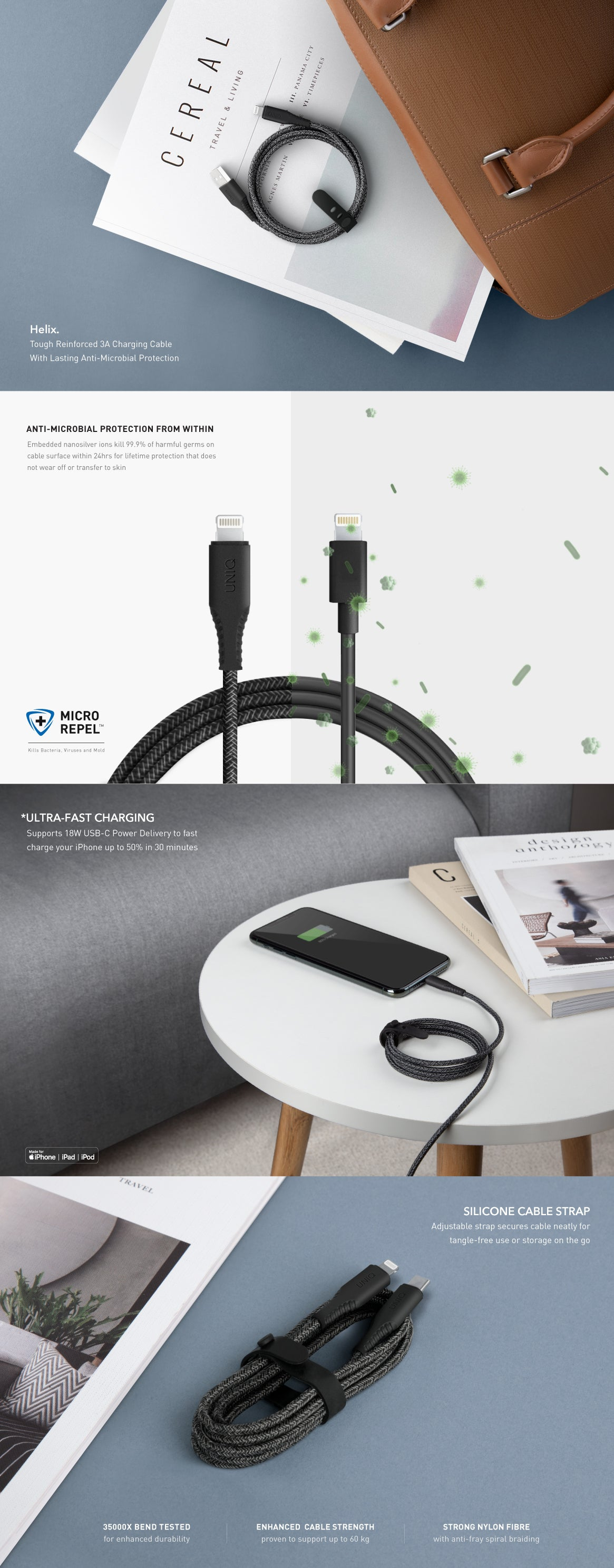 UNIQ Helix Antimicrobial USB-C to Lightning Fast Charging Cable For iPhone