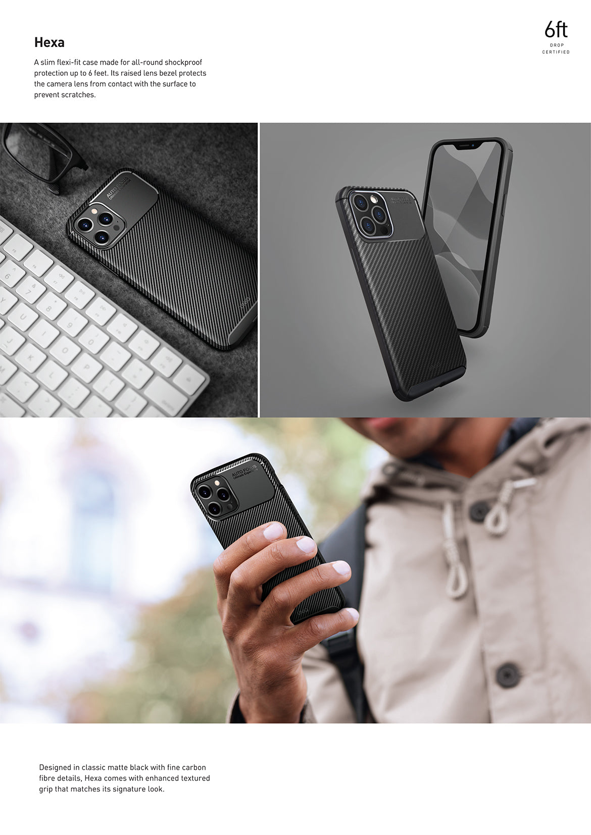 UNIQ Hexa Textured Carbon Fibre Case For iPhone 12 | 12 Mini | 12 Pro | 12 Pro Max